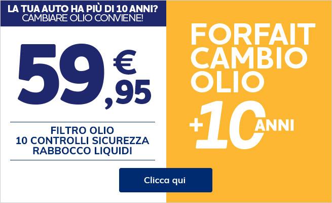 Cambio olio vetture +10anni a 59,95€