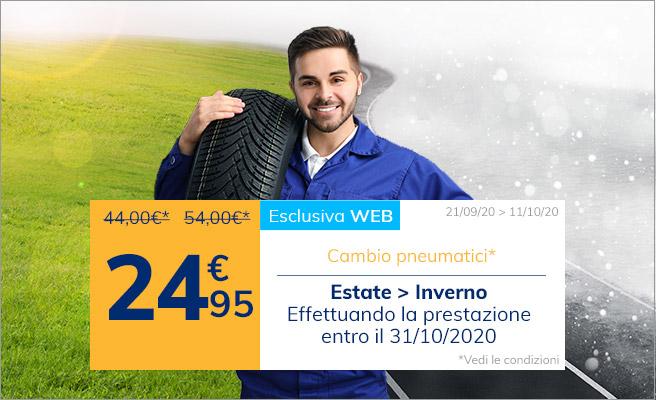 Cambio pneumatici stagionale a 24,95€
