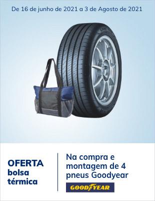 Na compra e montagem de 4 pneus Goodyear, oferta de uma bolsa térmica