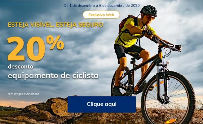 20% desconto em equipamento de ciclista
