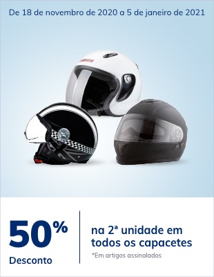 50% desconto na 2ª unidade em todos os capacetes marca RIDE-NZI-IMPEX