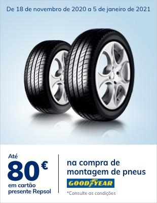 Até 80€ em cartão na compra e montagem de pneus Goodyear