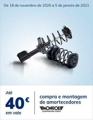 Até 40€ em vale na compra e montagem de amortecedores Monroe