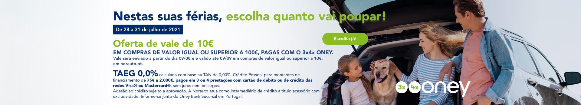 Oferta de vale de 10€ em compras de valor igual ou superior a 100€ pagas com o 3*4 X oney