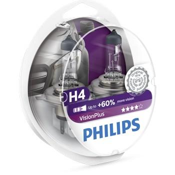 2 Ampoules Philips H4 Visionplus 55 W 12 V