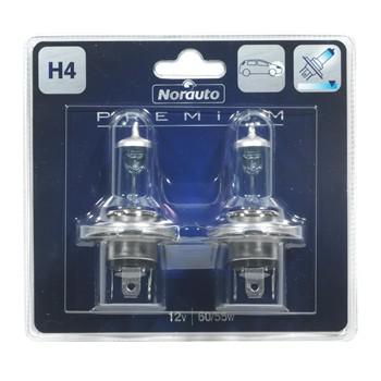 2 Ampoules Norauto Premium H4 Lumière Bleutée 60/55 W 12 V