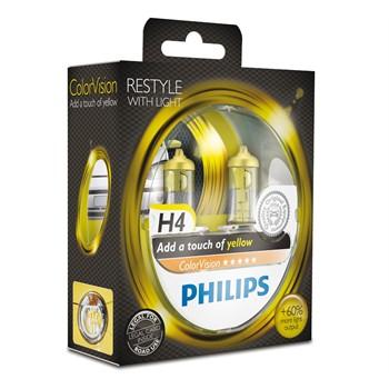 2 Ampoules Philips H4 Colorvision Jaune 60/55 W 12 V