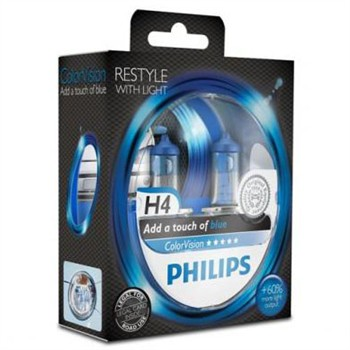 2 Ampoules Philips H4 Colorvision Bleu 60/55 W 12 V