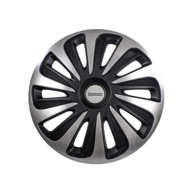 4 Enjoliveurs Gris/noir Michelin 3d Black Edition 13 Pouces