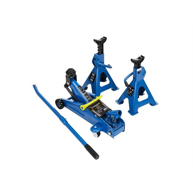 Cric Hydraulique Rouleur 2 T + 2 Chandelles 2 T