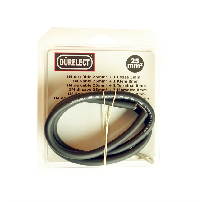 Kit 1 m câble 25 mm² + 1 cosse de trou 8 mm DÜRELECT