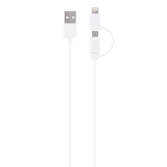 Câble USB avec connecteur micro USB + Lightning TNB blanc