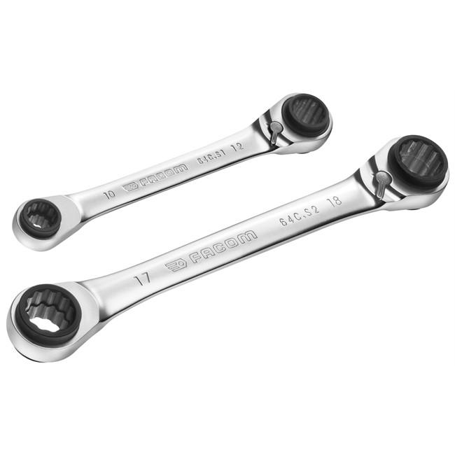 2 clés à oil à cliquet Spline multi-ouvertues 8-19 mm FACOM 64C.J2