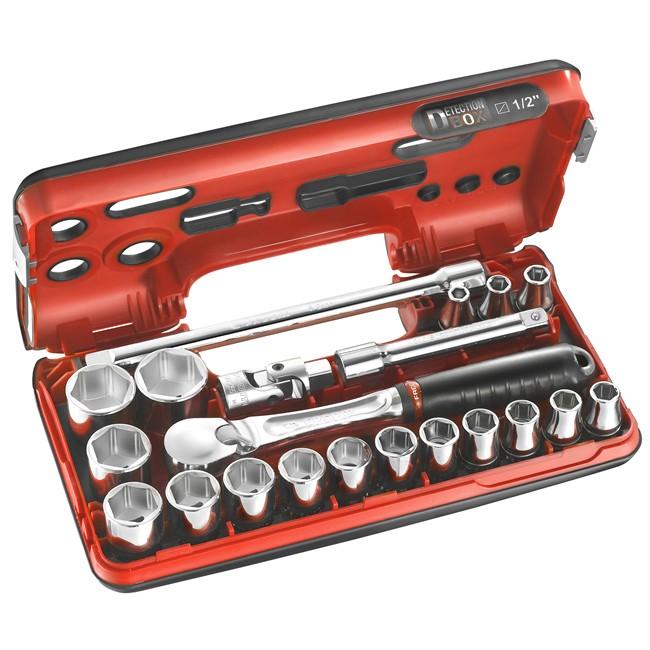 Coffret clé à cliquet carré 1/2'' + douilles 6 pans 8-32 mm FACOM SL.DBOX1
