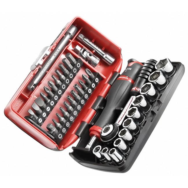 Coffret clé à cliquet carré 1/4'' + douilles 6 pans 5,5-14 mm et embouts FACOM R2NAN