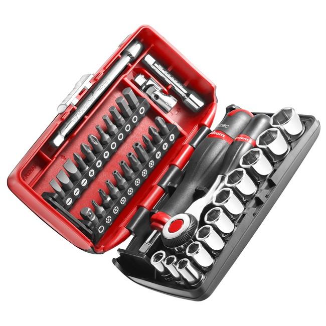 Coffret clé à cliquet carré 1/4'' + douilles 6 pans 5,5-14 mm FACOM R.360NANO 38 piè