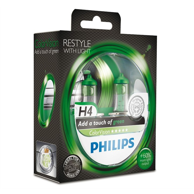 2 Ampoules Philips H4 Colorvision Verte 60/55 W 12 V