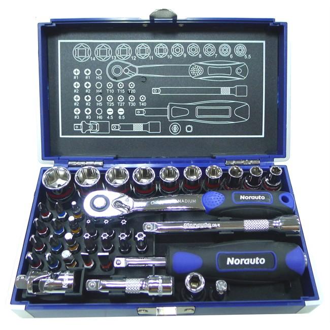 Coffret clé à cliquet carré 1/4'' + douilles 6 pans 5,5-14 mm et embouts NORAUTO 38
