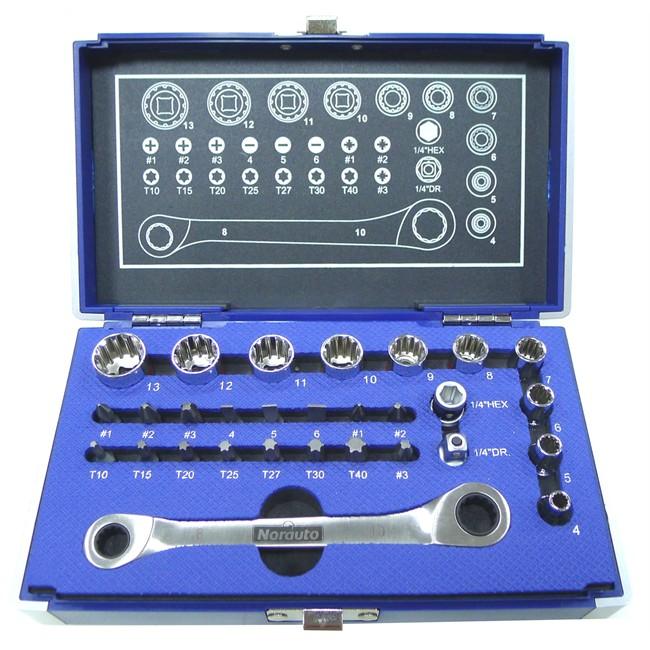 Coffret clé à cliquet carré 1/2'' + douilles 12 pans 4-13 mm et embouts NORAUTO 29 p