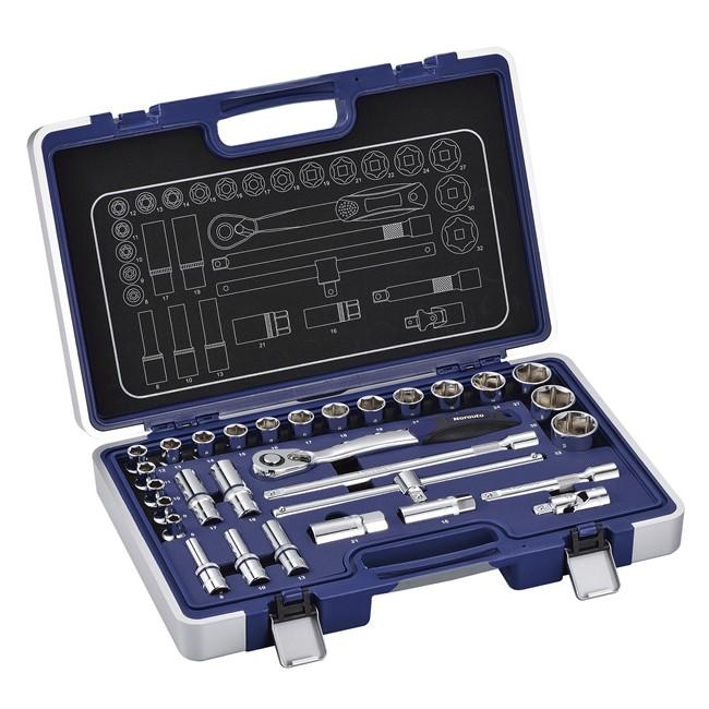 Coffret clé à cliquet carré 1/2'' + douilles 6 pans 8-32 mm NORAUTO 30 pièces