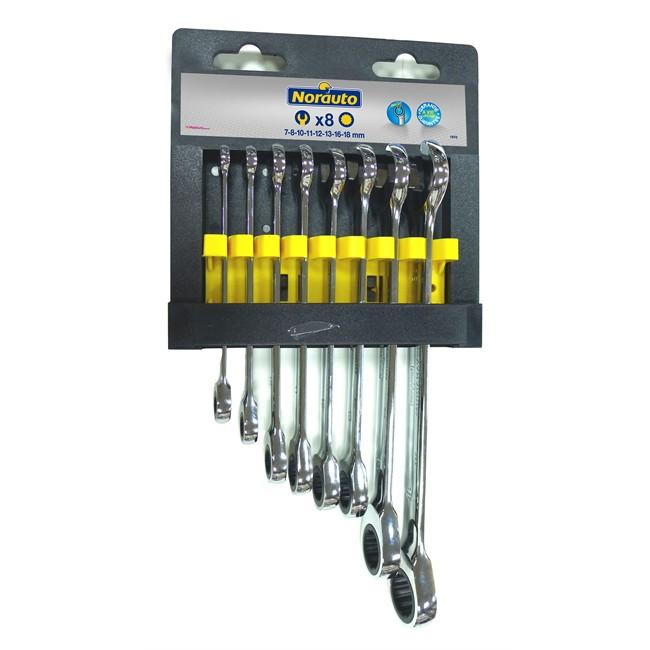 8 clés mixtes à cliquet Spline 7-18 mm NORAUTO