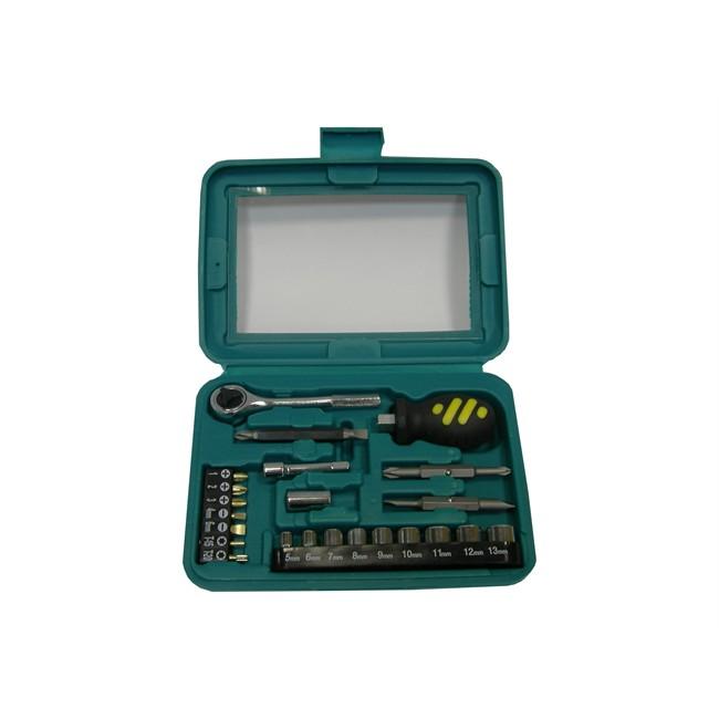 Mallette clé à cliquet carré 1/4'' + douilles 6 pans 5-13 mm et embouts 25 pièces