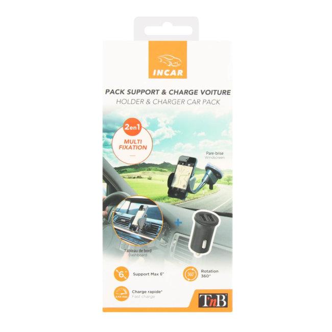 Support de smartphone sur ventouse + chargeur allume-cigare micro USB ou iPhone TNB