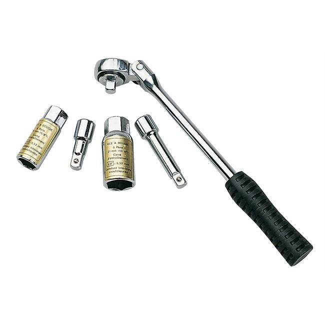 Kit 5 pièces pour clé à bougie et à cliquet 6 pans 16 et 21 mm carré 3/8'' AUTOBEST